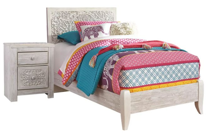 Paxberry Twin Panel Bed with Nightstand